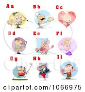 Clipart Alphabet Letters And Pictures A Through I Royalty Free Vector Illustration
