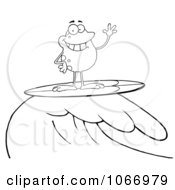 Clipart Outlined Surfing Frog Riding A Wave Royalty Free Vector Illustration