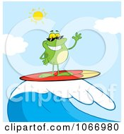 Clipart Surfer Frog Riding A Wave Royalty Free Vector Illustration