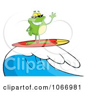 Clipart Surfing Frog Riding A Wave Royalty Free Vector Illustration