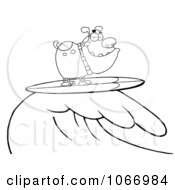 Clipart Outlined Surfing Bulldog Riding A Wave Royalty Free Vector Illustration