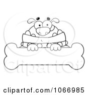 Clipart Outlined Bulldog And Bone Sign Royalty Free Vector Illustration