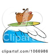 Clipart Surfing Bulldog Riding A Wave Royalty Free Vector Illustration