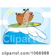 Clipart Surfer Bulldog Riding A Wave Royalty Free Vector Illustration