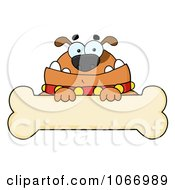 Clipart Brown Bulldog And Bone Sign Royalty Free Vector Illustration by Hit Toon
