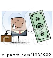 Clipart Hispanic Businessman Holding Cash Royalty Free Vector Illustration