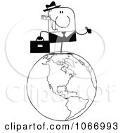 Clipart Black And White Businessman On A World Globe Royalty Free Vector Illustration