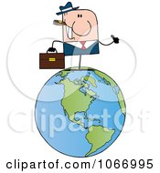 Clipart Businessman On A World Globe Royalty Free Vector Illustration
