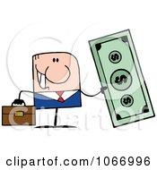 Clipart Caucasian Businessman Holding Cash Royalty Free Vector Illustration