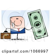 Clipart Businessman Holding Cash Royalty Free Vector Illustration