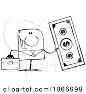 Clipart Outlined Businessman Holding Cash Royalty Free Vector Illustration