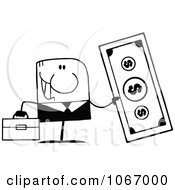 Clipart Black And White Businessman Holding Cash Royalty Free Vector Illustration