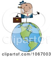 Clipart Black Businessman On A World Globe Royalty Free Vector Illustration