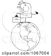 Clipart Outlined Businessman On A World Globe Royalty Free Vector Illustration