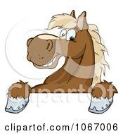 Clipart Brown Horse Over A Sign Royalty Free Vector Illustration