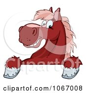 Clipart Red Horse Over A Sign Royalty Free Vector Illustration
