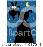 Clipart Silhouetted Mountain Goat At Night Royalty Free Vector Illustration