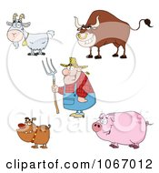 Clipart Farmer And Livestock Animals Royalty Free Vector Illustration by Hit Toon