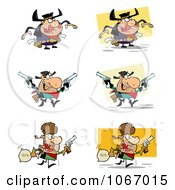Clipart Wild West Cowboys Royalty Free Vector Illustration