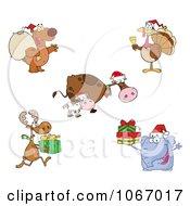 Clipart Christmas Animals Royalty Free Vector Illustration