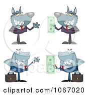 Clipart Greedy Business Wolves And Sharks Royalty Free Vector Illustration
