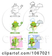 Clipart Waving And Chef Frogs Royalty Free Vector Illustration