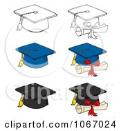Clipart Graduation Caps Royalty Free Vector Illustration