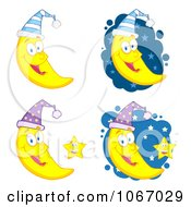 Clipart Crescent Moons Wearing Caps Royalty Free Vector Illustration