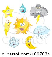 Clipart Weather Characters 1 Royalty Free Vector Illustration