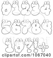 Clipart Outlined Cloud Numbers Royalty Free Vector Illustration by Hit Toon