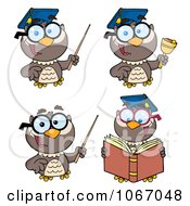 Clipart Professor Owls Royalty Free Vector Illustration by Hit Toon