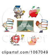 Clipart Back To School Characters 3 Royalty Free Vector Illustration by Hit Toon