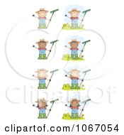 Clipart Farmer Kids With Rakes Royalty Free Vector Illustration by Hit Toon