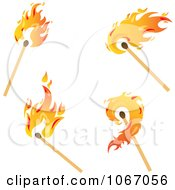 Clipart Lit Matches Royalty Free Vector Illustration