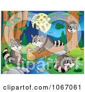 Clipart Raccoons Playing By A Stream 3 Royalty Free Vector Illustration by visekart