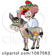 Clipart Mexican Man On A Donkey 1 Royalty Free Vector Illustration by visekart