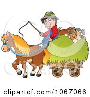 Clipart Farmer With A Horse And Dog Sleeping On Hay 1 Royalty Free Vector Illustration by visekart