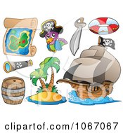 Clipart Pirate Items - Royalty Free Vector Illustration by visekart