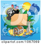 Clipart Blank Sign On A Treasure Island 2 Royalty Free Vector Illustration