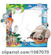 Clipart Girl Pirate Frame Royalty Free Vector Illustration