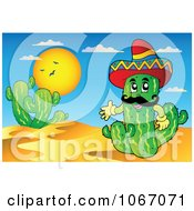 Clipart Friendly Mexican Cactus In The Desert Royalty Free Vector Illustration by visekart