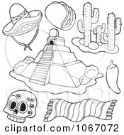 Clipart Outlined Mexican Items 1 Royalty Free Vector Illustration by visekart