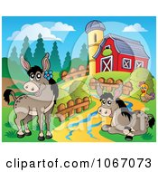 Clipart Barnyard Donkeys Royalty Free Vector Illustration by visekart