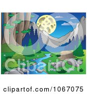 Clipart Tree Stump By A Creek In The Woods 3 Royalty Free Vector Illustration by visekart