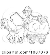 Clipart Outlined Farmer With A Horse And Dog Sleeping On Hay Royalty Free Vector Illustration