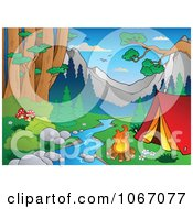 Clipart Waterfront Camp Site In The Woods Royalty Free Vector Illustration