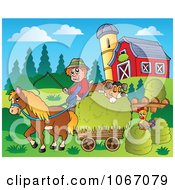 Clipart Farmer With A Horse And Dog Sleeping On Hay 2 Royalty Free Vector Illustration