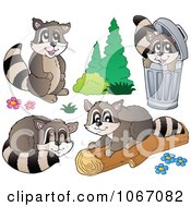 Clipart Mischievous Raccoons 2 Royalty Free Vector Illustration by visekart