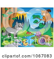 Clipart Wild Animals By A Forest Stream 5 Royalty Free Vector Illustration by visekart