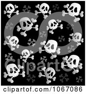 Clipart Black And White Skull And Crossbone Background Royalty Free Vector Illustration by visekart